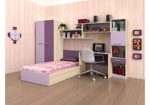 Mobilier copii Charlie - stejar nisipos si lila - Camera copiilor