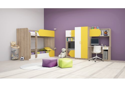 Mobilier pentru copii Ricky - Sonoma inchis si galben - Camera copiilor