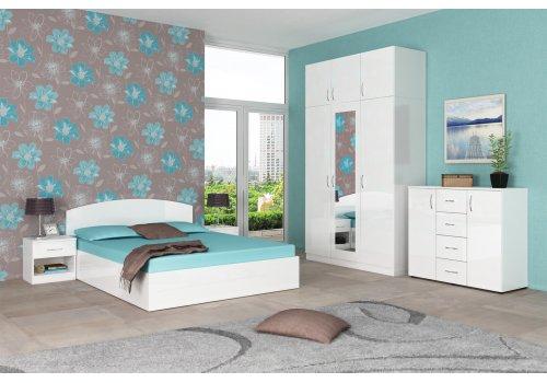 Set dormitor Apollo - alb lucios - Seturi de dormitoare