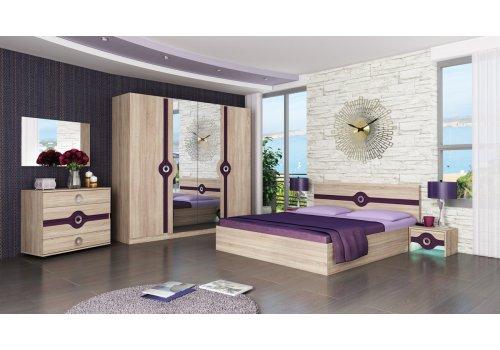 Set dormitor Fiona - stejar Sonoma si vanata - Seturi de dormitoare