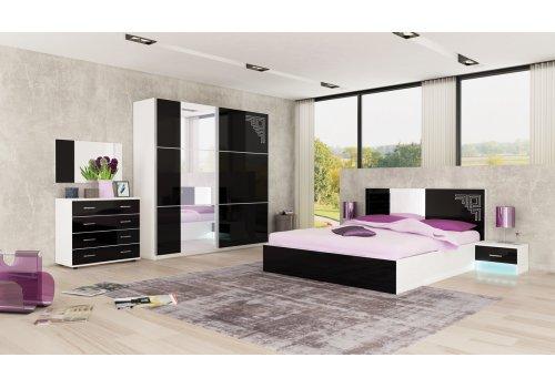 Set dormitor Castle - alb si negru lucios - Seturi de dormitoare