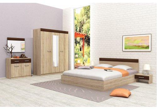 Спален комплект Мелани с ВКЛЮЧЕН МАТРАК - дъб сонома и дъб кремона - Спални комплекти с матраци