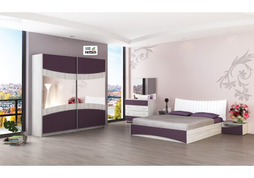 Set dormitor Siena N - stejar Blanco si vanata - Comparare Produse