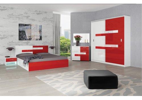 Set dormitor Vivian - alb lucios si rosu lucios - Seturi de dormitoare