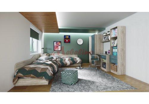 Mobilier copii  City 5011 cu paturi pe colt si lada-Tip 2 - Camera copiilor