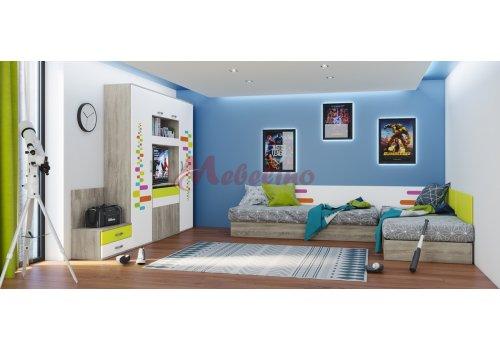 Mobilier copii  City 5010 cu mecanism de ridicare pentru saltea 82x190-Tip 1 - Camera copiilor