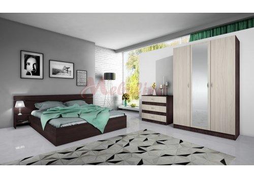 Set dormitor City 7000 - wenge si astra - cu comoda si mecanism de ridicare incluse - Seturi de dormitoare