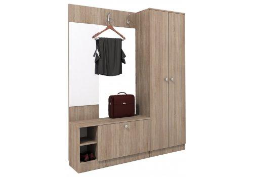 Cuier Mire No.2 cu oglinda, cuiere, pantofar si dulap - stejar Sonoma - Seturi pentru hol