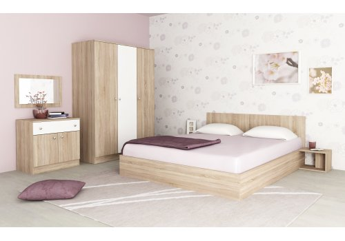 Set dormitor Mire No. 1 cu comod - stejar Sonoma si alb - Seturi de dormitoare