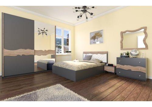Спален комплект Аладин с ВКЛЮЧЕН МАТРАК, скрин, огледало и повдигащ механизъм - Спални комплекти с матраци