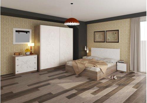 Спален комплект Албена с ВКЛЮЧЕН МАТРАК, скрин, огледало и повдигащ механизъм - Спални комплекти с матраци
