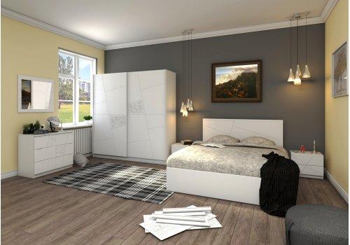 Спален комплект Декор с ВКЛЮЧЕН МАТРАК, скрин, огледало и повдигащ механизъм - Спални комплекти с матраци