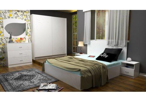 Спален комплект Еко с ВКЛЮЧЕН МАТРАК, скрин, огледало и повдигащ механизъм - Спални комплекти с матраци