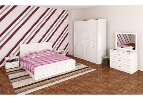 Спален комплект Гала с ВКЛЮЧЕН МАТРАК, скрин, огледало и повдигащ механизъм - Бяло фладерно  - Спални комплекти с матраци