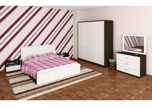 Set dormitor Gala cu comoda, oglinda si mecanism de ridicare - alb Fladerno si wenge - Seturi de dormitoare