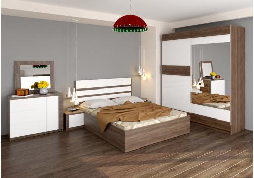 Спален комплект Калия с ВКЛЮЧЕН МАТРАК, скрин, огледало и повдигащ механизъм - Спални комплекти с матраци