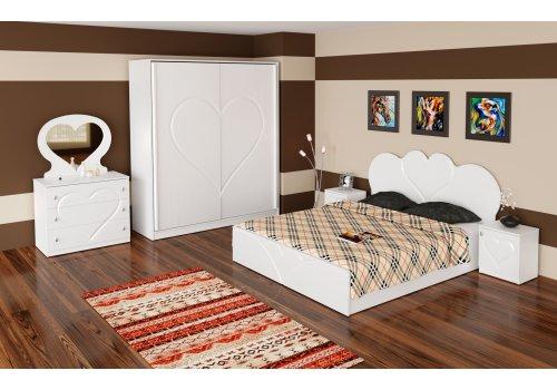 Спален комплект Love с ВКЛЮЧЕН МАТРАК, скрин, огледало и повдигащ механизъм - Спални комплекти с матраци