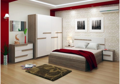 Спален комплект Виктория със ВКЛЮЧЕН МАТРАК, скрин, огледало и повдигащ механизъм - Спални комплекти с матраци