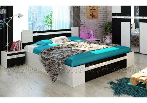 Легло Стило с 2 нощни шкафчета и МДФ профил гланц - Легла