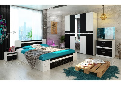 Спален комплект Стило с ВКЛЮЧЕН МАТРАК и МДФ профил гланц - Спални комплекти с матраци