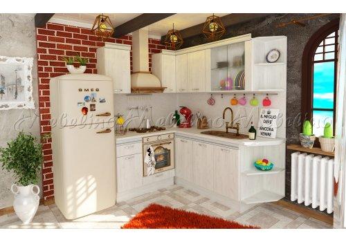 Bucatarie modulara pe colt Toscana 2 cu profil decorativ - Seturi de bucatarie